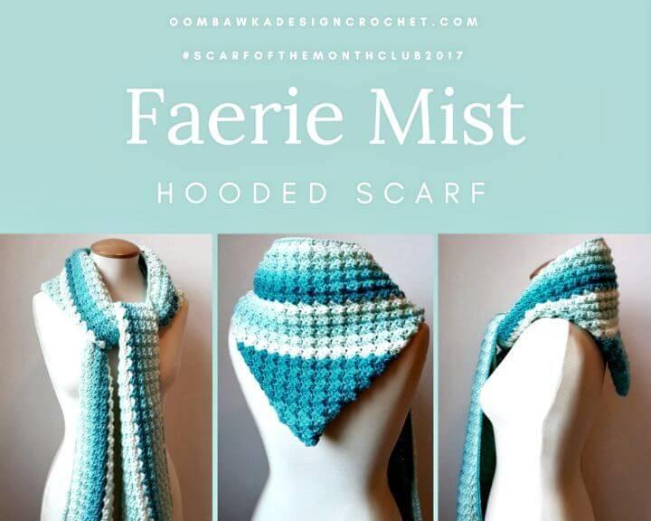 Easy Free Crochet Faerie Mist Hooded Scarf Pattern