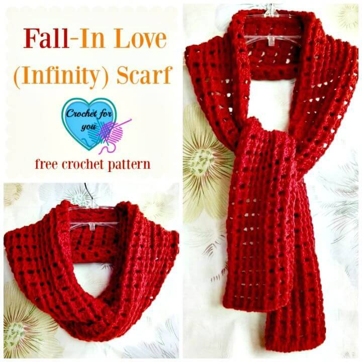 Cute Free Crochet Fall In Love Infinity Scarf Pattern