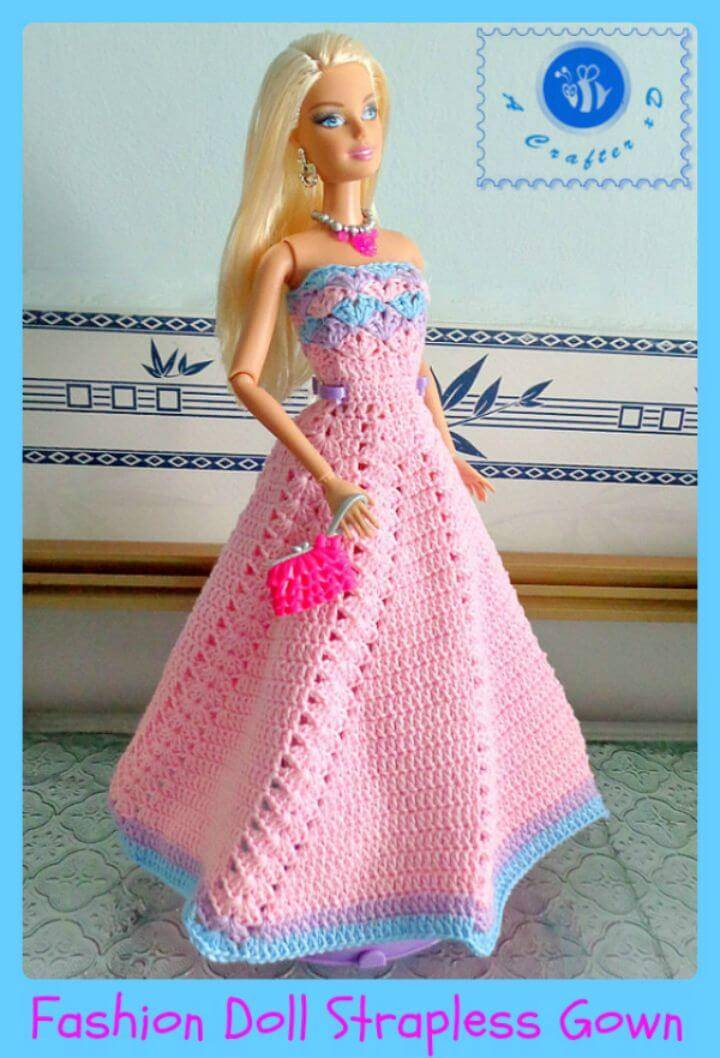 Easy Free Crochet Fashion Doll Strapless Gown Pattern
