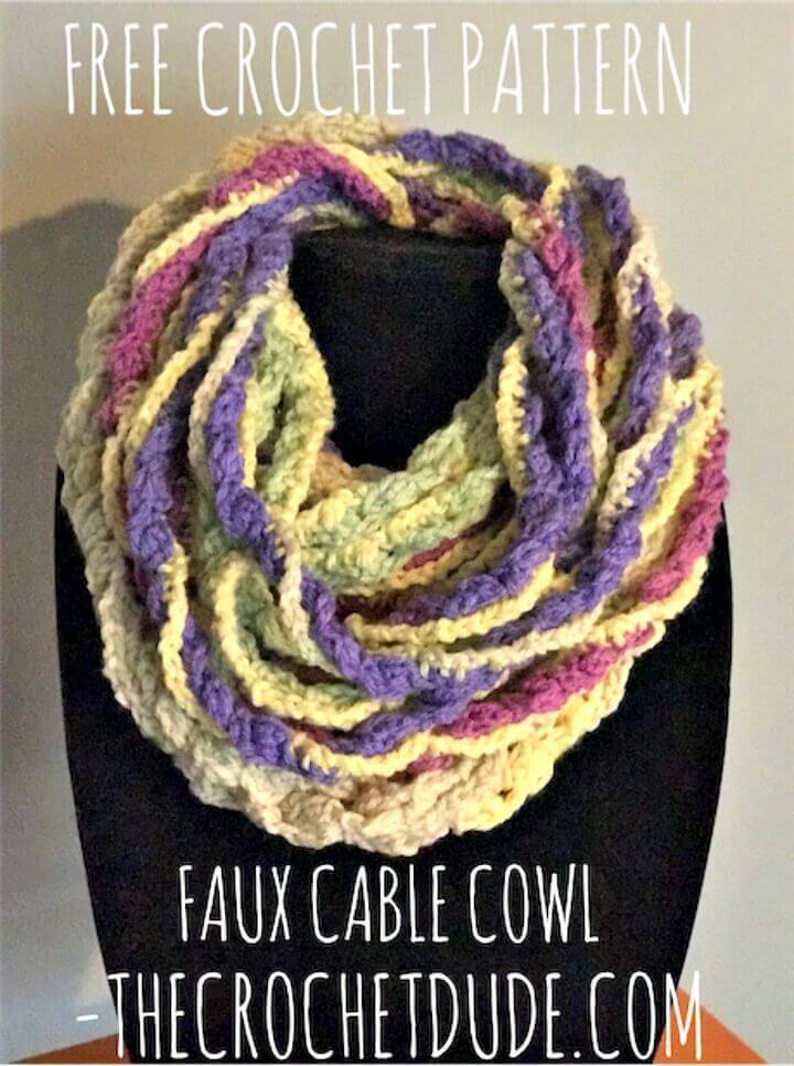 Easy Free Crochet Faux Cable Cowl Pattern Using Caron Cake