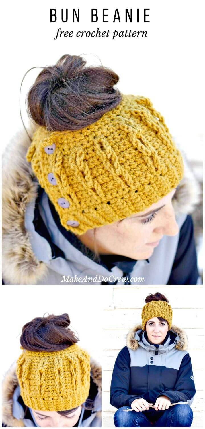 Easy Free Crochet Faux Cabled Bun Beanie Pattern