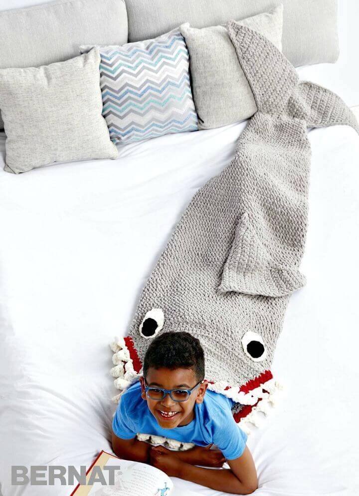 Free Crochet Fin-Tastic Shark Snuggle Sack Blanket Pattern