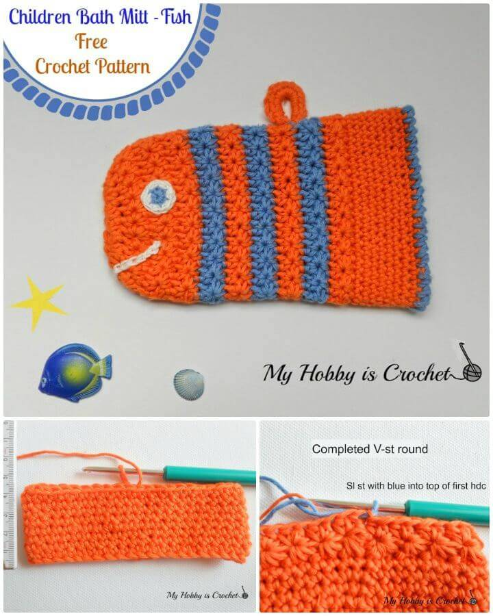 Easy Free Crochet Fish Bath Mitt Using Star Stitch - Pattern With Tutorial