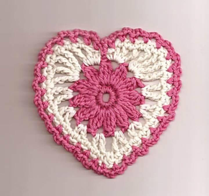 Free Crochet Floral Heart Motif Pattern