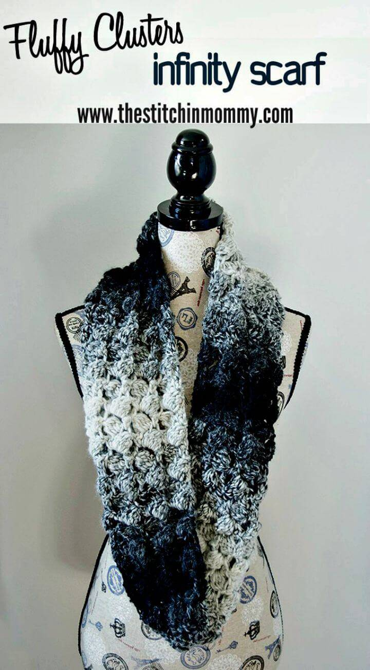 How To Free Crochet Fluffy Clusters Infinity Scarf Pattern