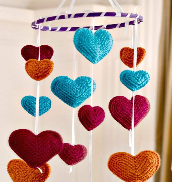 How To Free Crochet Flying Hearts Mobile Pattern