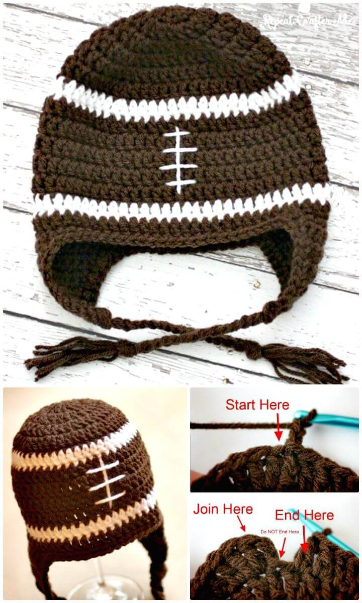 Free Crochet Football Ear-flap Hat Pattern