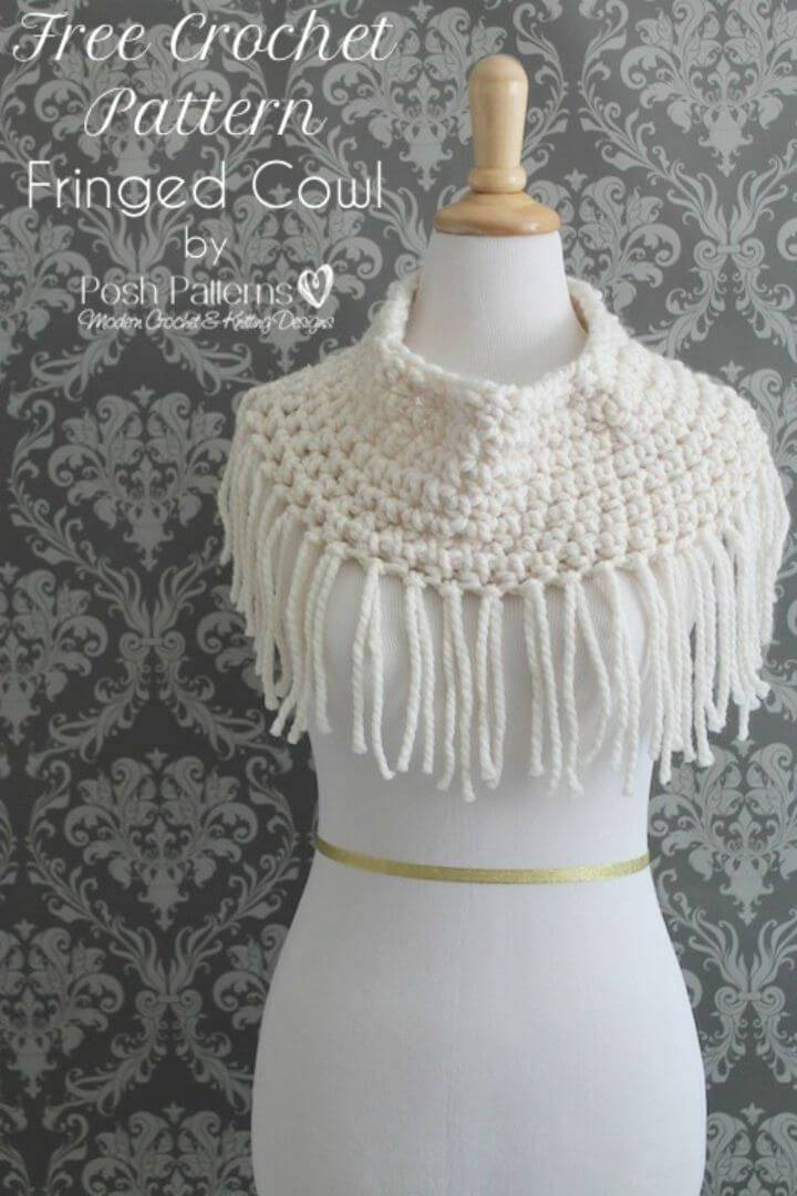 How To Free Crochet Fringe Cowl Pattern