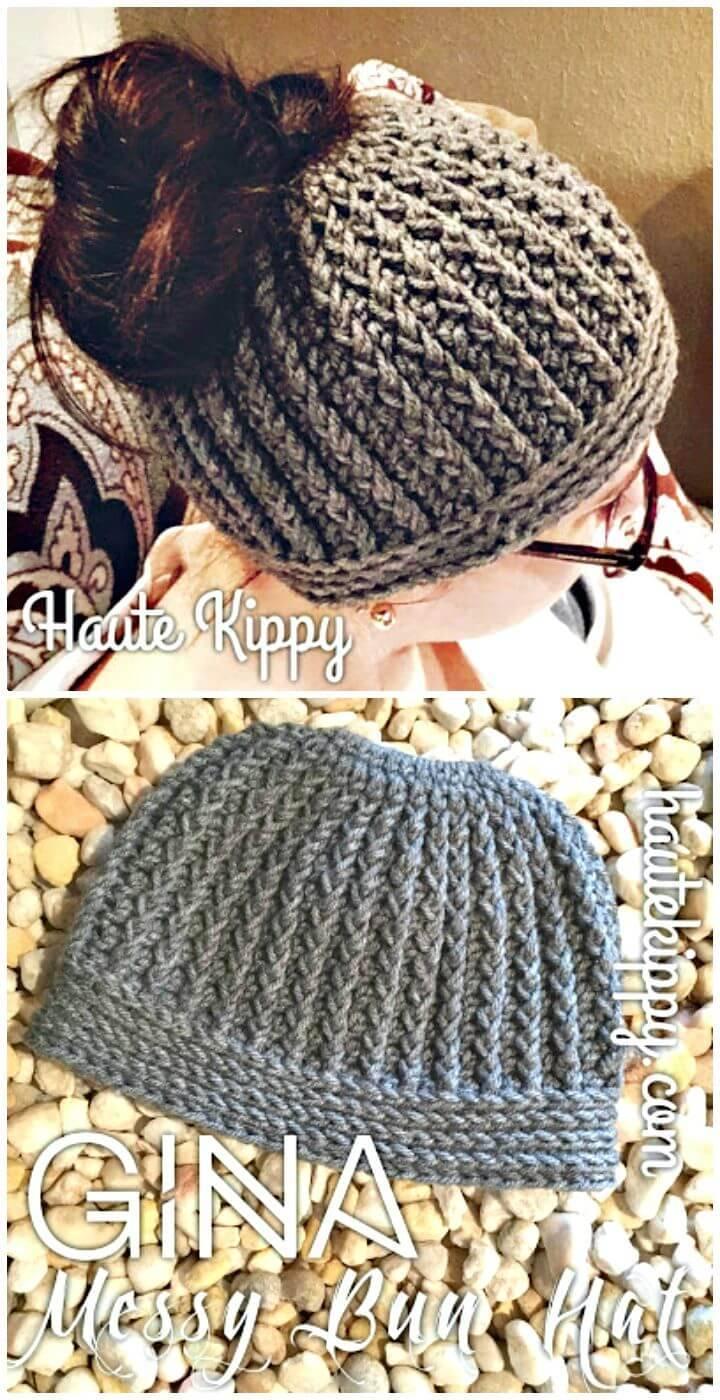 Easy Free Crochet Gina Messy Bun Hat Pattern