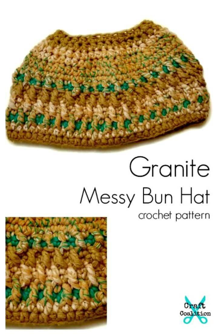 How To Free Crochet Granite Messy Bun Hat Pattern