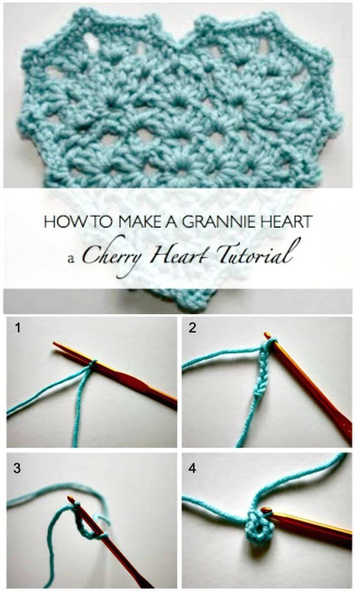Easy Free Crochet Grannie Heart Pattern