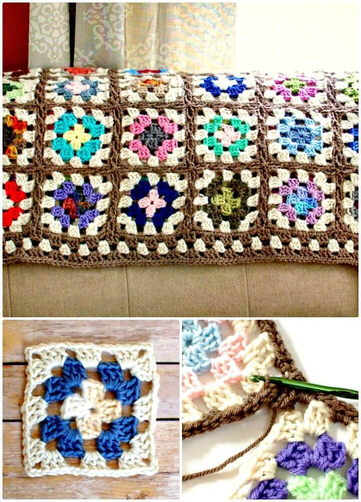 How To Free Crochet Granny Square Blanket Afghan Pattern