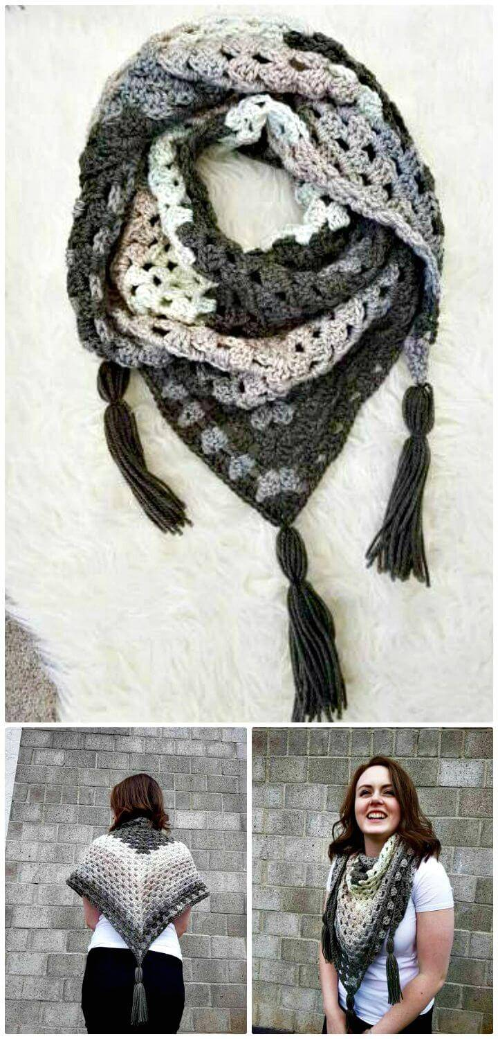 How To Free Crochet Granny Square Triangle Scarf Pattern