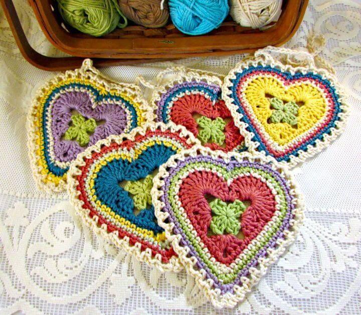 Easy Free Crochet Granny Sweet Heart Pattern