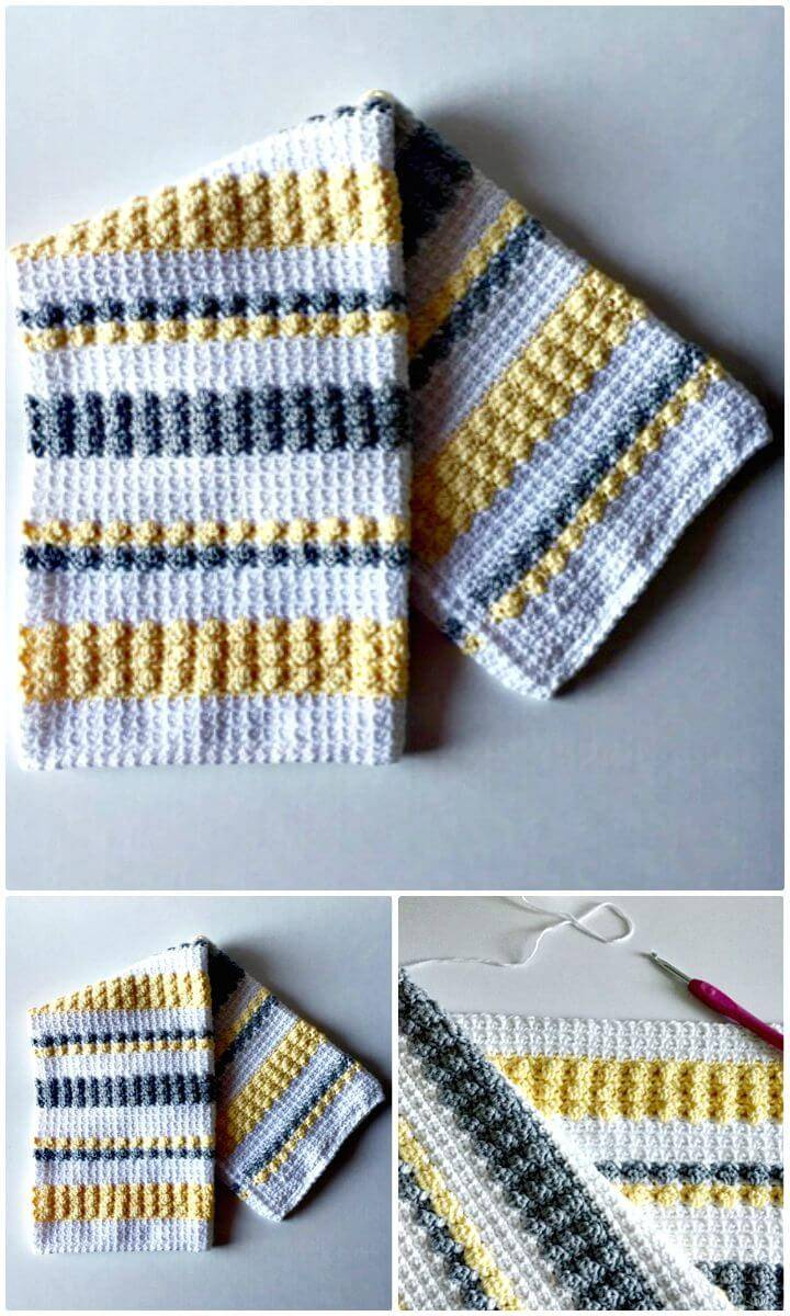 Free Crochet Gray And Yellow Bobble And Mesh Stitch Blanket Pattern