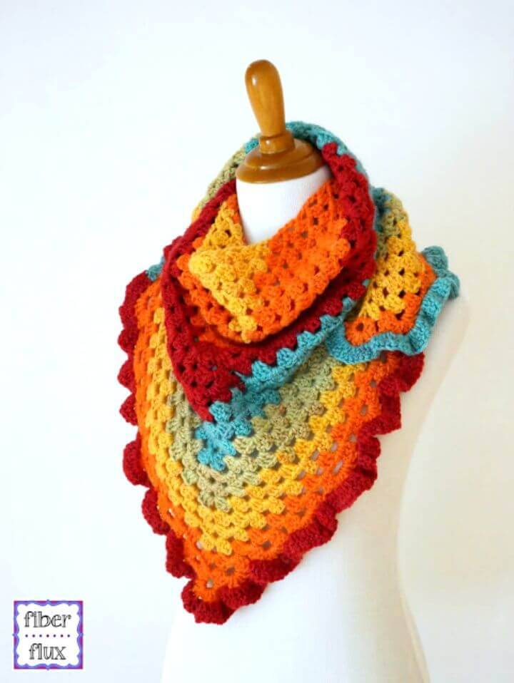 Free Crochet Happy Go Lucky Shawlette Pattern Using Caron Cake