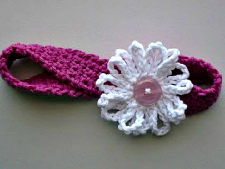 Easy Free Crochet Headband With Yarn Daisy Pattern