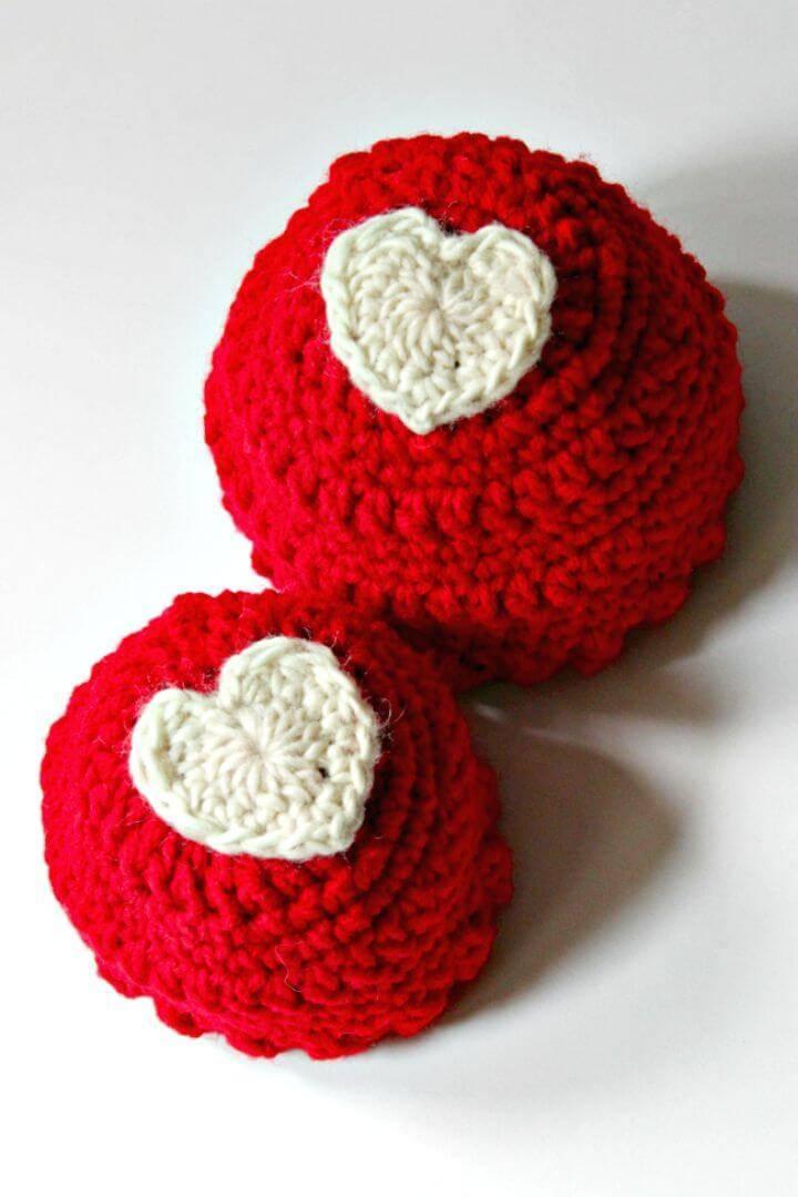 Free Crochet Heart Appliqué Hat Pattern
