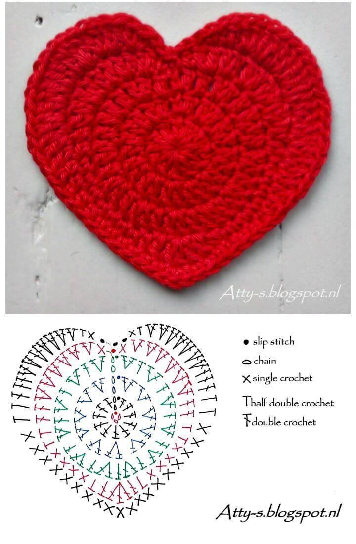 Easy Free Crochet Heart Coaster Pattern
