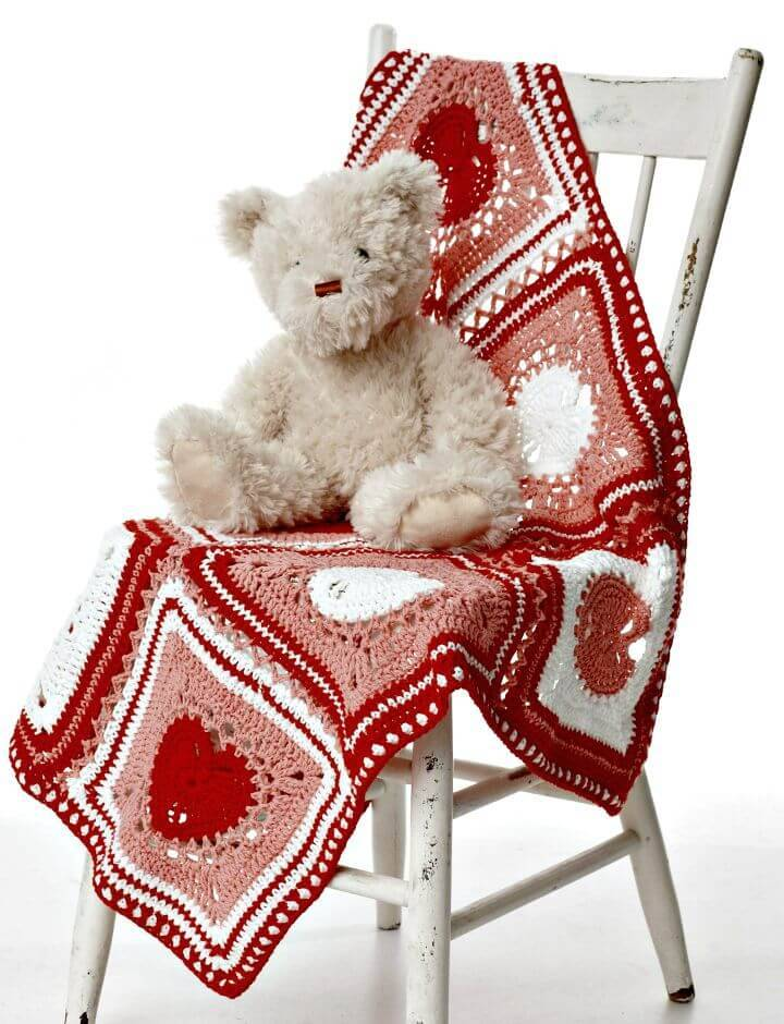 Easy Free Crochet Heart Dishcloth Blanket Pattern