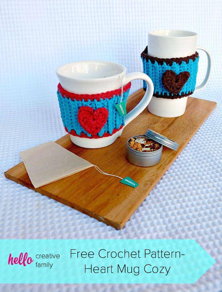 Free Crochet Heart Mug Cozy Pattern Perfect for Your Favorite Tea or Coffee Cup