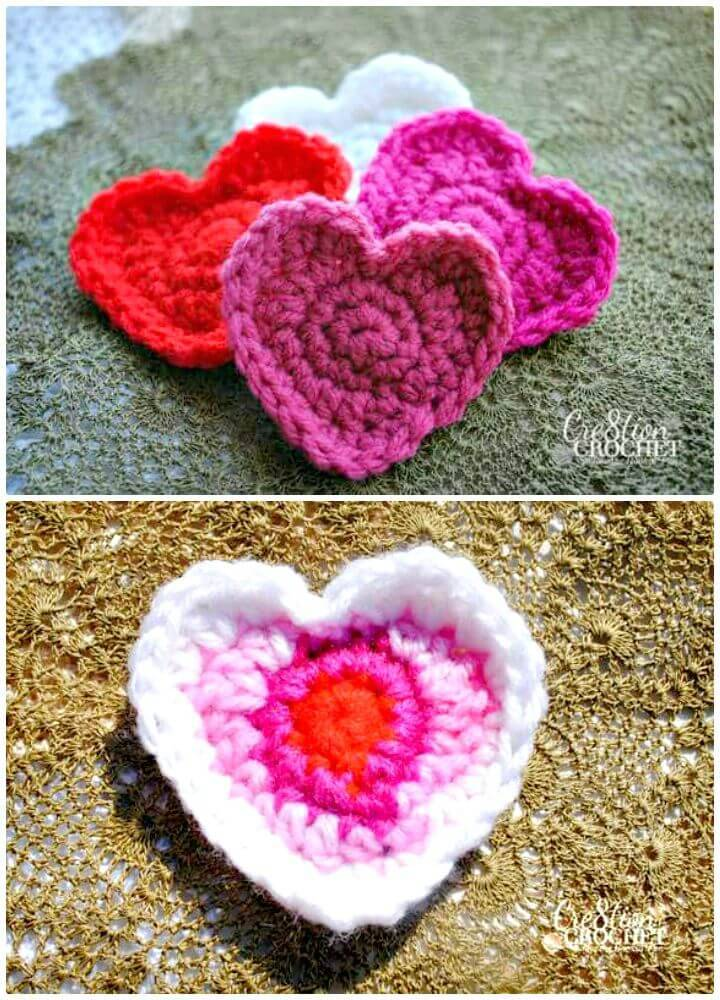 Easy How To Free Crochet Heart Pattern