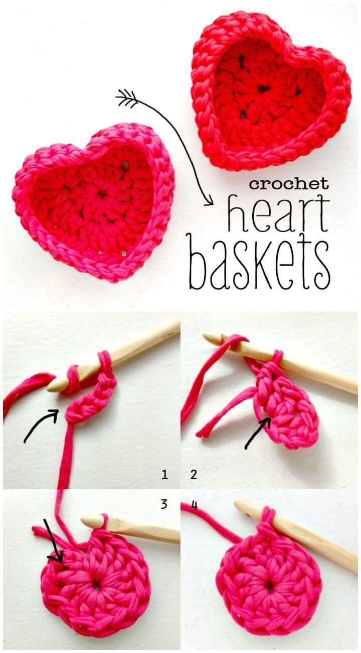 Easy Free Crochet Heart Shaped Storage Baskets Pattern