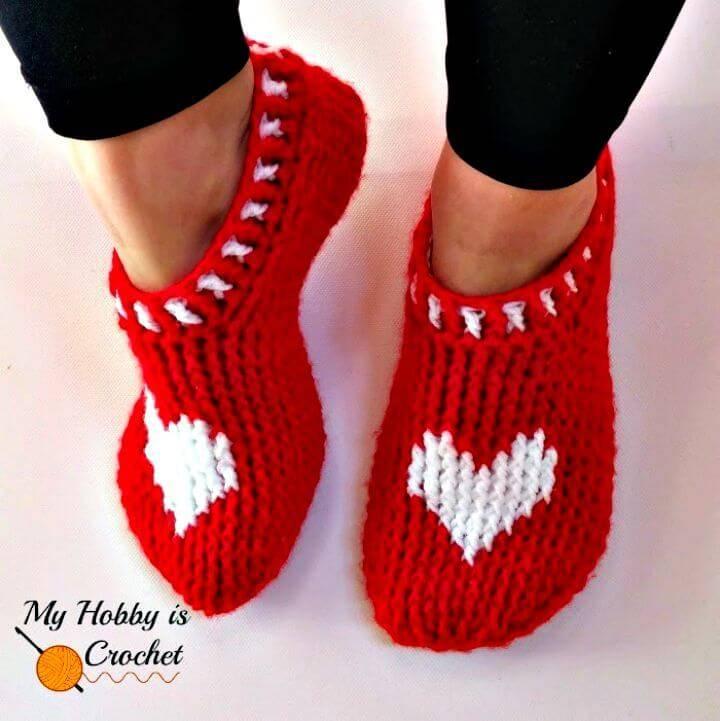 Free Crochet Heart & Sole Slippers - Women Size Pattern