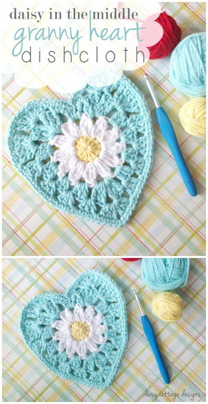 How To Free Crochet Heart With Daisy Center Pattern