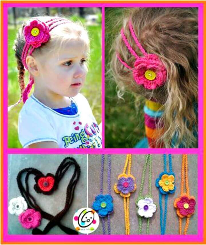 Easy Free Crochet Hearts And Flowers Headband Pattern