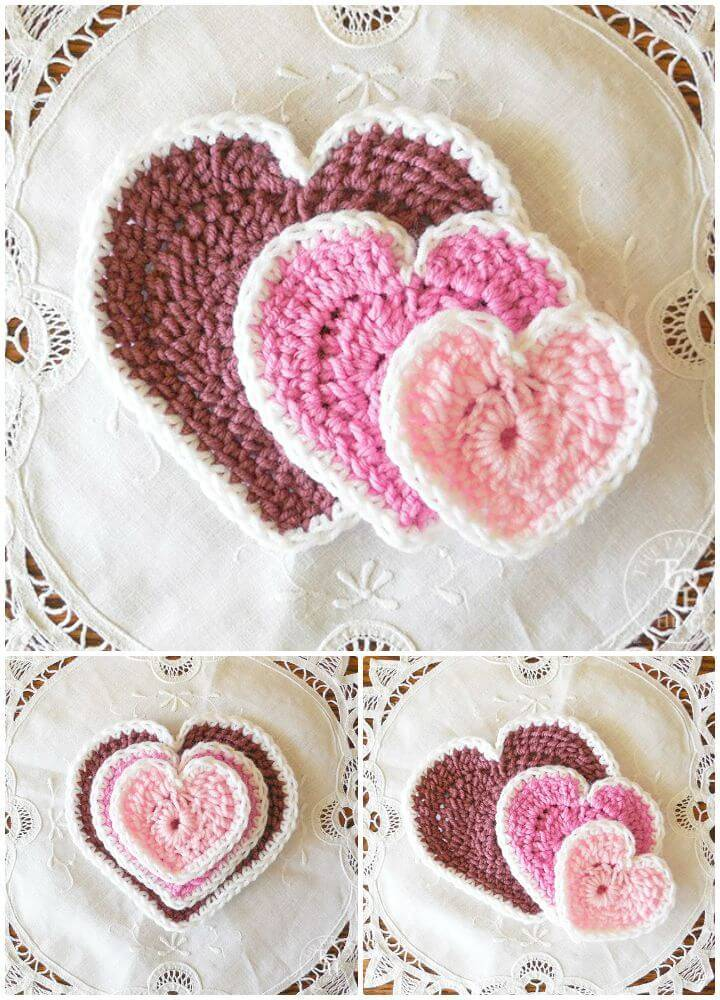 Easy Crochet Hearts In 3 Sizes - Free Patterns