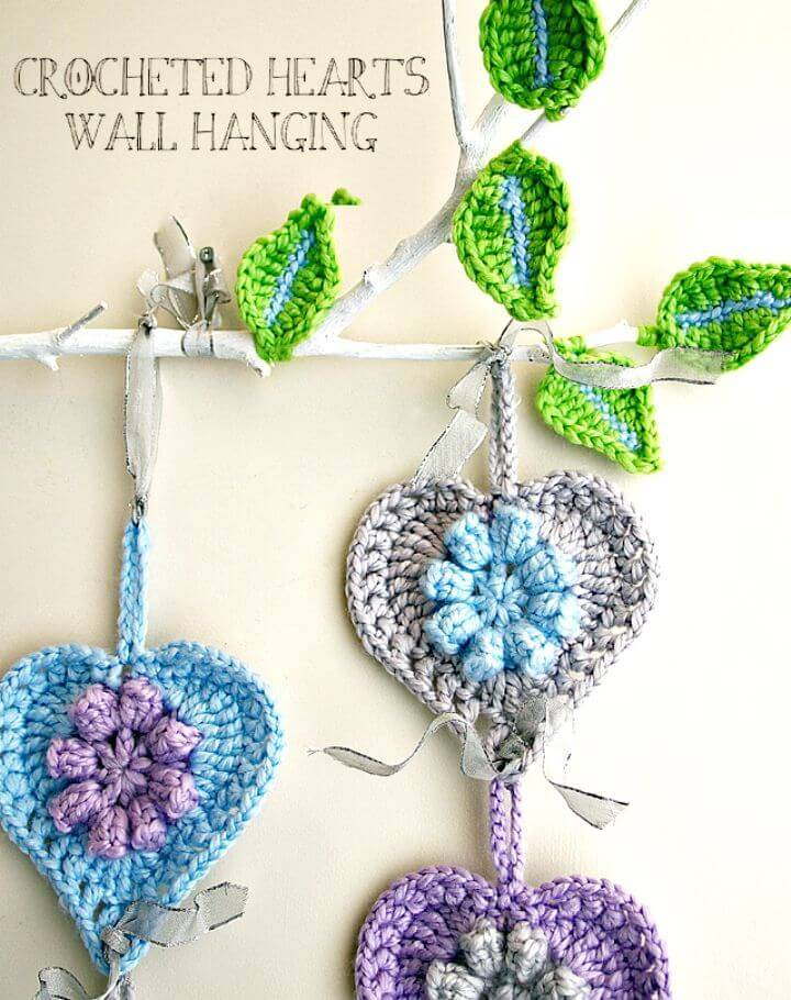 Easy Crochet Hearts Wall Hanging On A Limb - Free Pattern