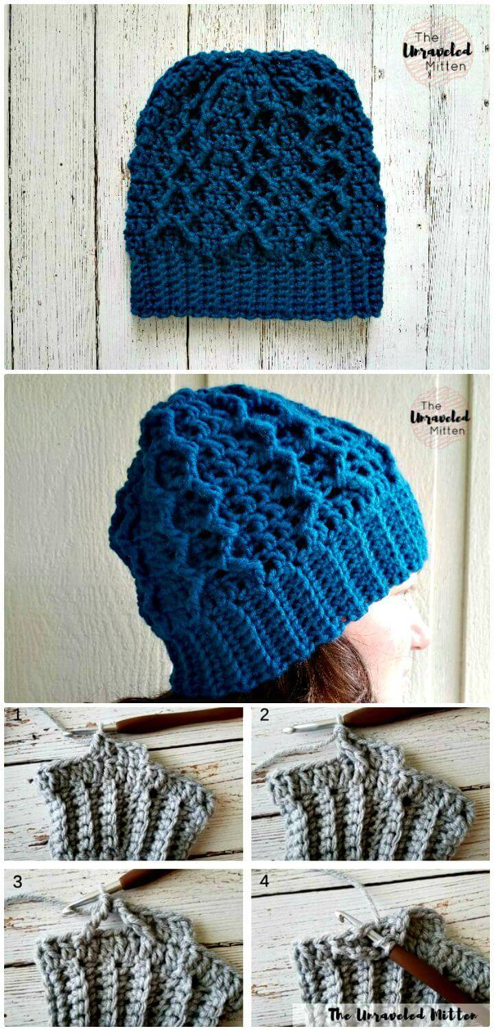 Crochet Honeycomb Cabled Beanie - Free Pattern