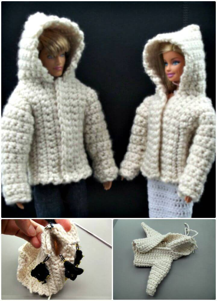Easy Free Crochet Hooded Jacket for 11.5″ Fashion Doll Pattern