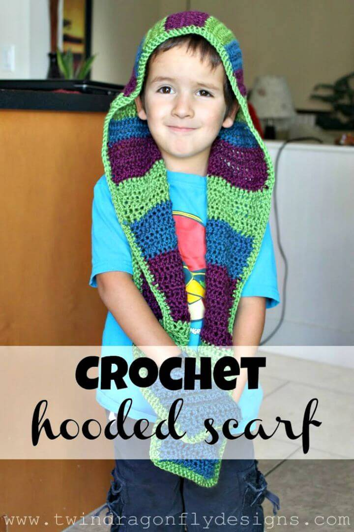 Easy Free Crochet Hooded Scarf Pattern - For Kids