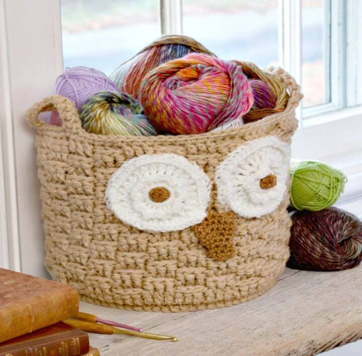 How To Free Crochet Hoot Owl Container Basket Weave Stitch Pattern