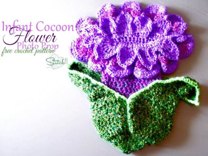 Easy Free Crochet Infant Cocoon Flower Photo Prop Pattern