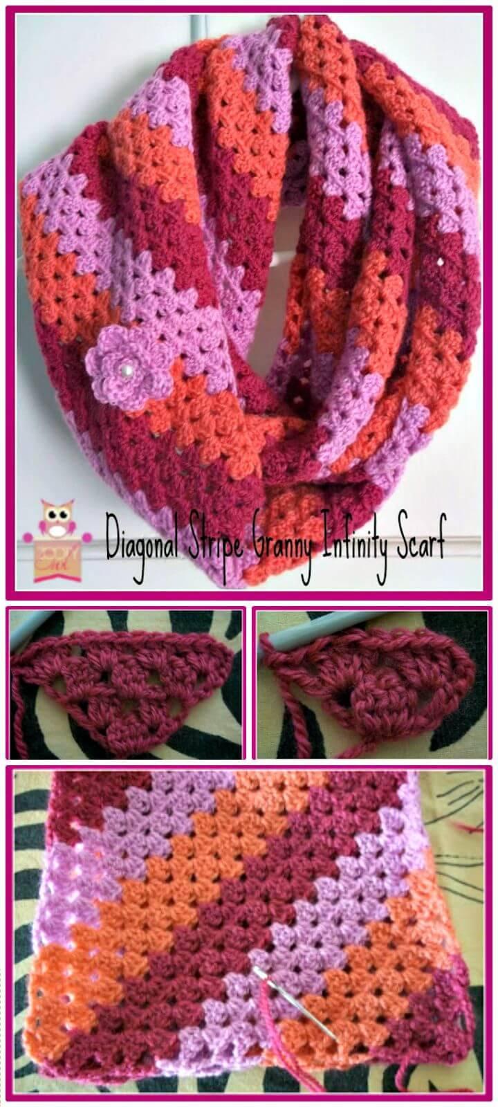 Free Crochet Infinity Scarf - Diagonal Granny Stripe Pattern