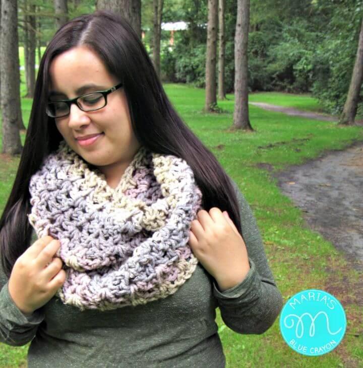 How To Free Crochet Infinity Scarf using One Caron Sprinkle Cake