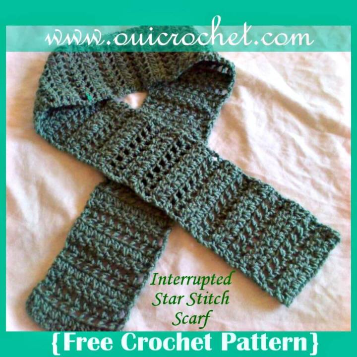 How To Easy Free Crochet Interrupted Star Stitch Scarf Pattern