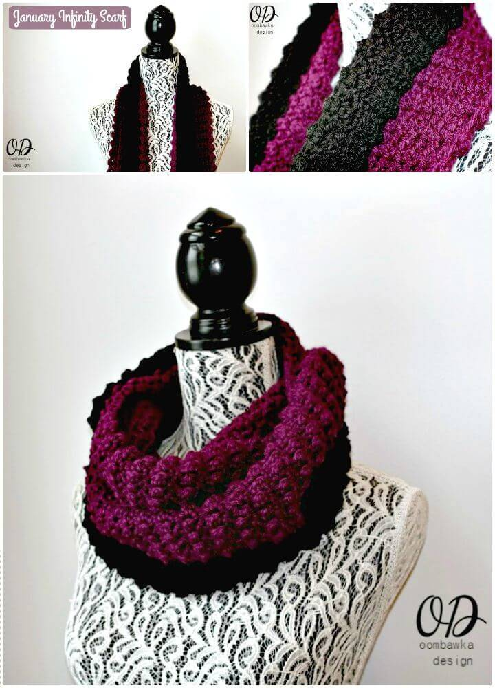 Easy Free Crochet January Infinity Scarf Pattern