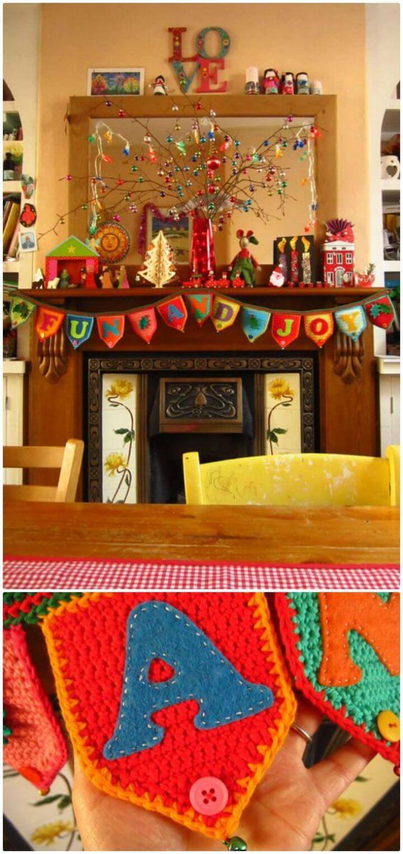 Free Crochet Jolly Festive Bunting Garland Pattern