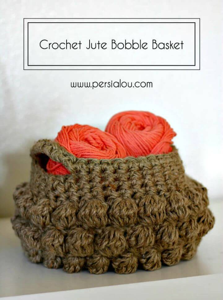 How To Free Crochet Jute Bobble Basket Pattern