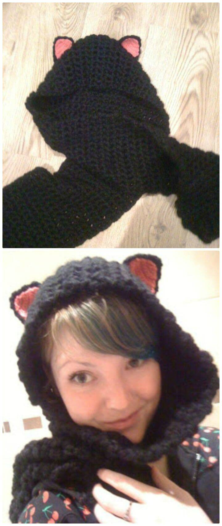 How To Free Crochet Kitty Hooded Scarf Pattern