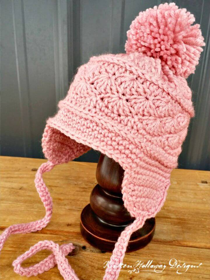 Easy Free Crochet La Vie en Rose Earflap Hat Pattern