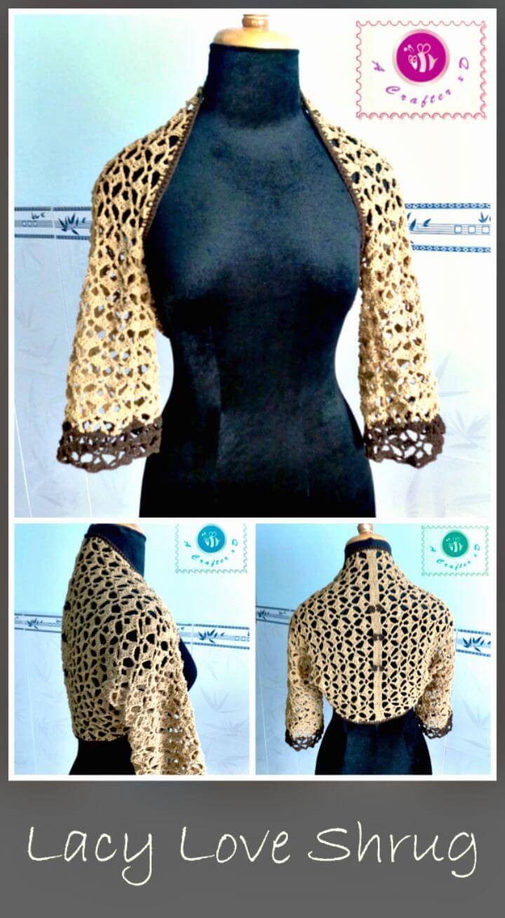 How To Free Crochet Lacy Love Shrug Pattern