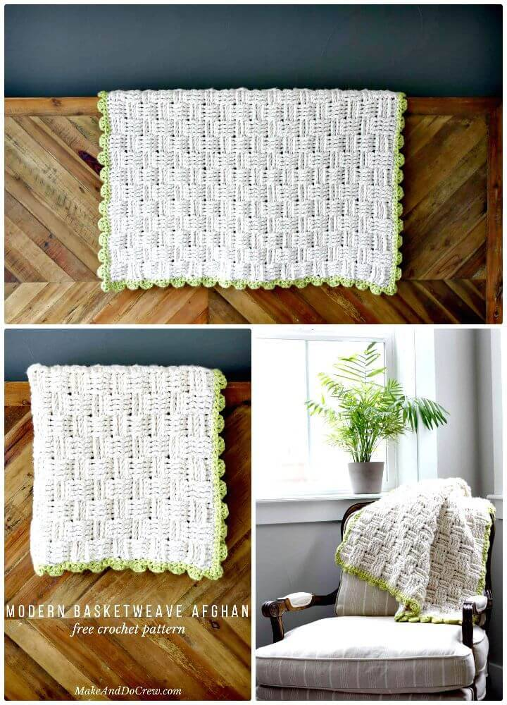 Easy Free Crochet Lineage Basket Weave Blanket Pattern