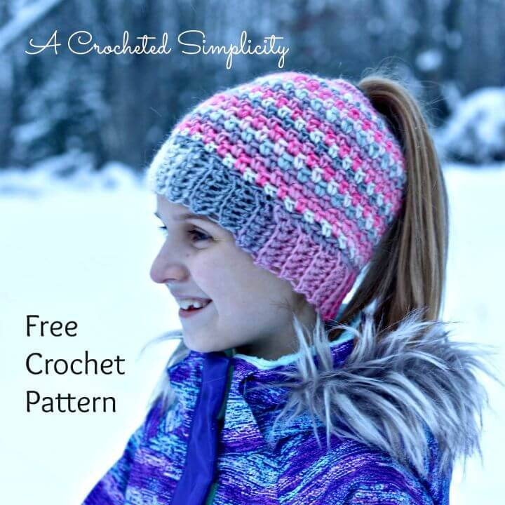 Free Crochet Linen Stitch Messy Bun Pattern