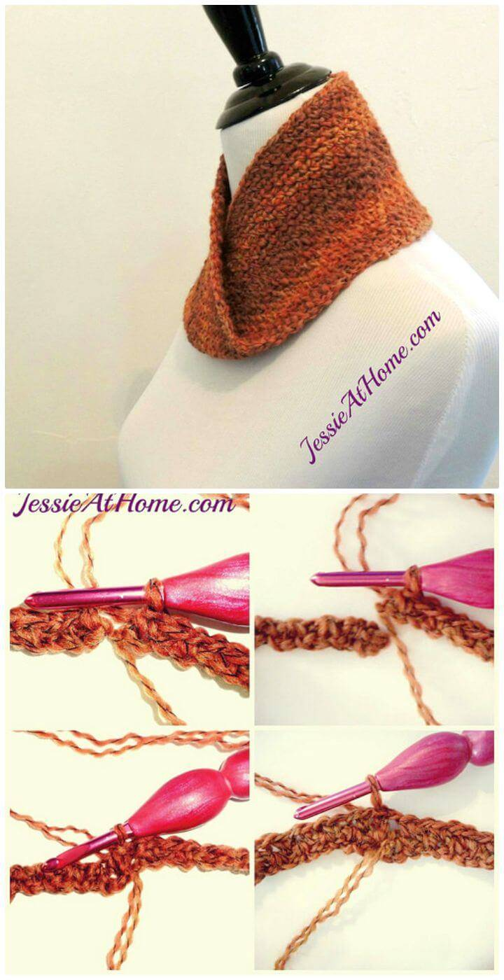 Easy Free Crochet Linen Stitch Mobius Cowl Pattern