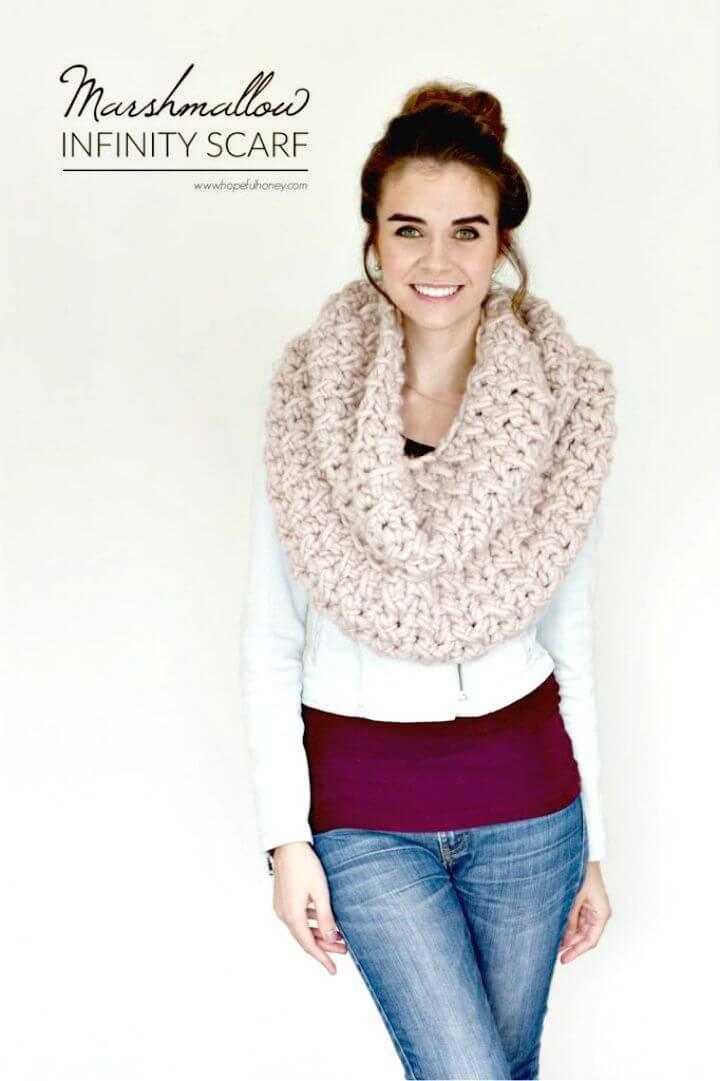 Easy Free Crochet Marshmallow Infinity Scarf Pattern